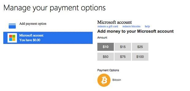 Tela para adicionar a moeda virtual bitcoin à conta da Microsoft, que passa a aceitá-la para compra de apps, músicas e games. (Foto: Reprodução/Microsoft)