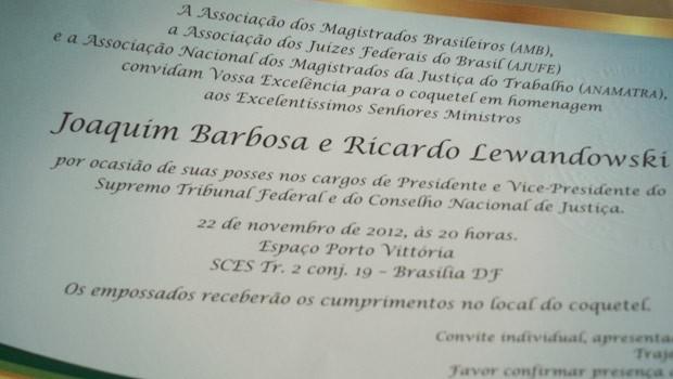 Convite para a posse do ministro Joaquim Barbosa (Foto: Cíntia Acayaba / G1)