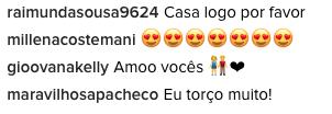 Comentários dos fãs do casal #Brumar (Foto: Reprodução/Instagram)