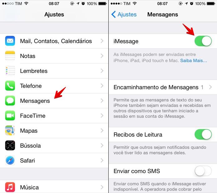 Desativando o iMessage pelo iPhone (Foto: Reprodução/Helito Bijora)