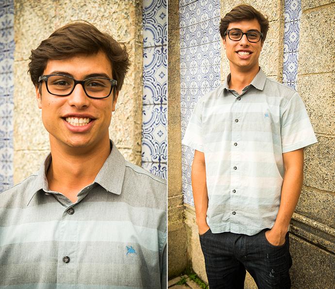 Filipe com a combinação que não tem erro: jeans + camisa (Foto: João Miguel Júnior/Globo)