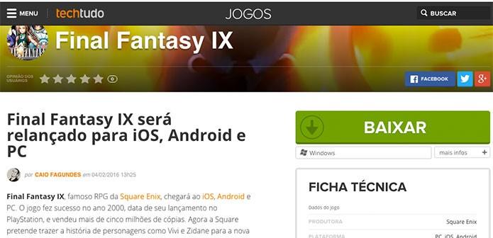 Selecione a plataforma de preferência para Final Fantasy IX (Foto: Reprodução/Felipe Vinha)