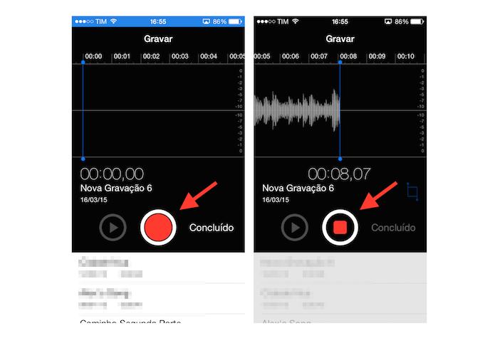 Iniciando e finalizando uma gravação de áudio no iPhone (Foto: Reprodução/Marvin Costa)