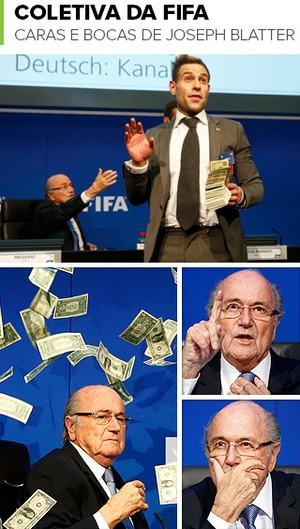 Mosaico Caras e Bocas Blatter (Foto: Arte esporte)