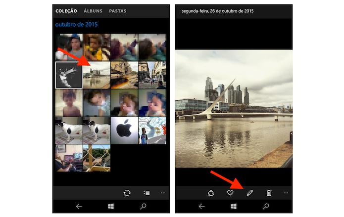 Acessando a ferramenta para edição de fotos do Windows 10 Mobile (Foto: Reprodução/Marvin Costa)