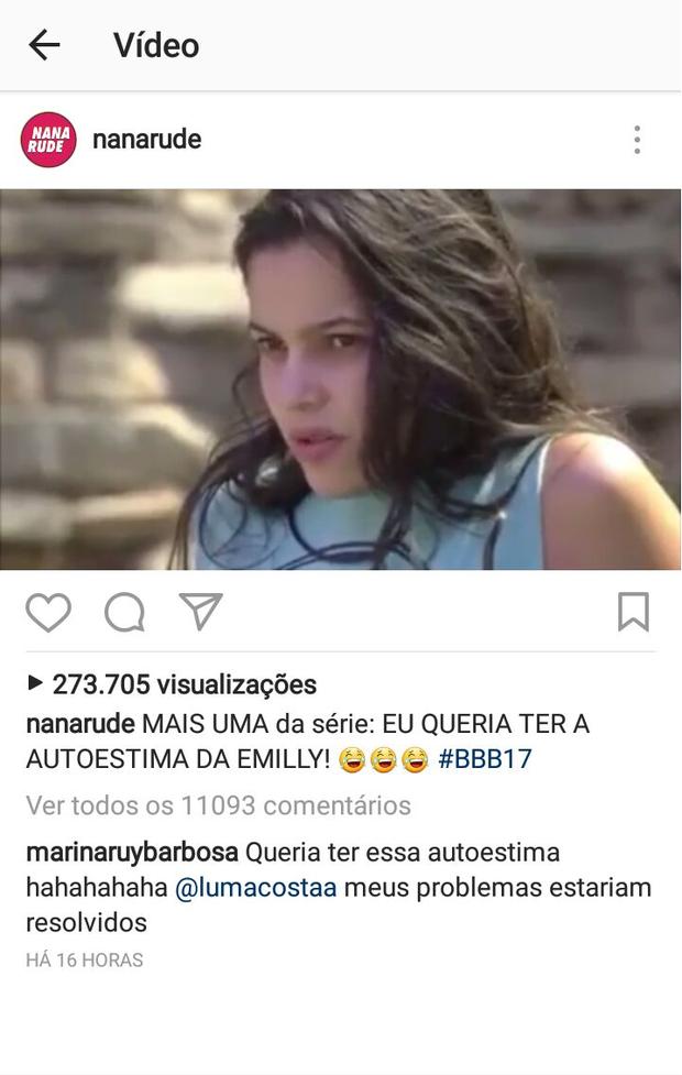 Marina Ruy Barbosa brinca com autoestima de Emilly (Foto: Reprodução / Instagram)