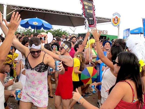 Foliões participam do bloco Babydoll de Nylon, em Brasília (Foto: Filipe Matoso/G1)