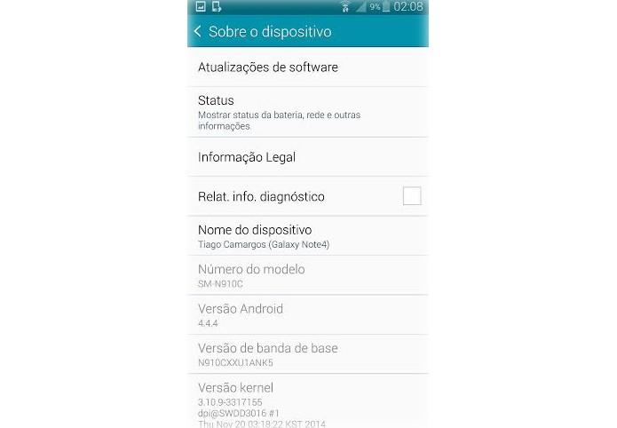 """Clique em """"Sobre o Dispositivo"""" para atualizar o Note 4 para o Lollipop (Foto: Reprodução/Lucas Mendes)"""
