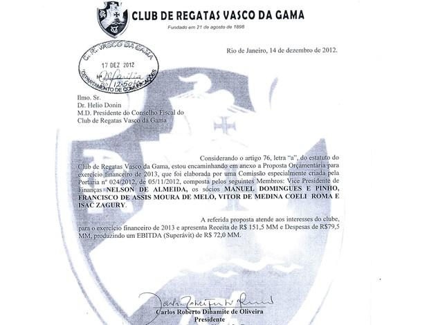 documento orçamento Vasco 2013 (Foto: Reprodução)