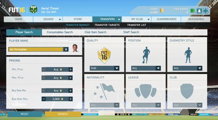Use filtros para achar jogadores em Fifa 16 (Foto: Reprodução/Murilo Molina)