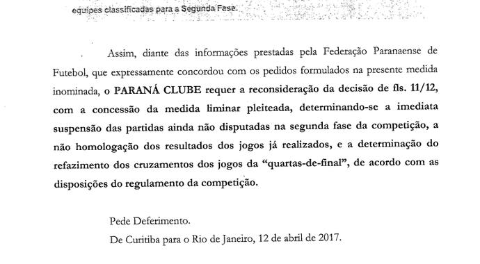 Documento, Paraná Clube (Foto: Reprodução/Paraná Clube)