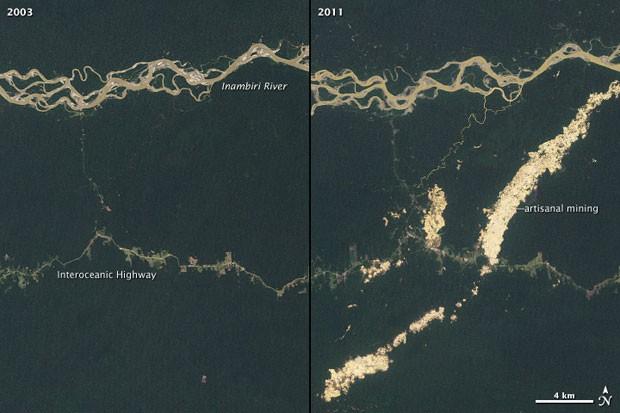 Imagem de satélite mostra desmatamento em parte da Amazônia no Peru devido à extração de ouro naquela região. (Foto: Divulgação/Nasa)