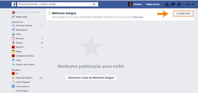 Edite a lista de melhores amigos no Facebook (Foto: Reprodução/Barbara Mannara) (Foto: Edite a lista de melhores amigos no Facebook (Foto: Reprodução/Barbara Mannara))