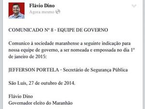 Flávio Dino anunciou nome para a Secretaria de Segurança Pública  (Foto: Reprodução)