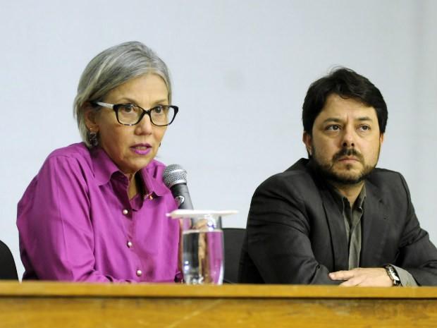 gerente de Vigilância Epidemiológica da Secretaria de Saúde, Cristina Segatto, em entrevista coletiva sobre H1N1 (Foto: Secretaria de Saúde/Divulgação)