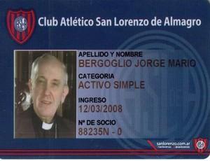 Carteirinha Papa Francisco I Sócio San Lorenzo (Foto: Diario Deportivo Olé)