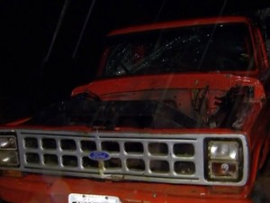 Motor de caminhão foi arrancado durante temporal em São Roque (Foto: Reprodução/TV TEM)