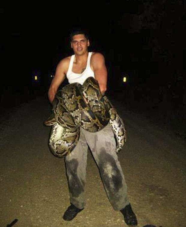 Jason Leon matou cobra em área rural do condado de Miami-Dade (Foto: Divulgação/Florida Fish and Wildlife Conservation Commission)
