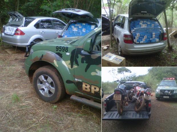 Veículos e as caixas de cigarros foram levados para a Receita Federal de Guaíra (Foto: BPFron/Divulgação)