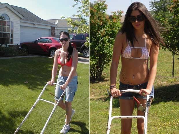 Fotos do site da empresa Bikini mowing mostra mulheres cortando grama usando biquínis (Foto: Divulgação)