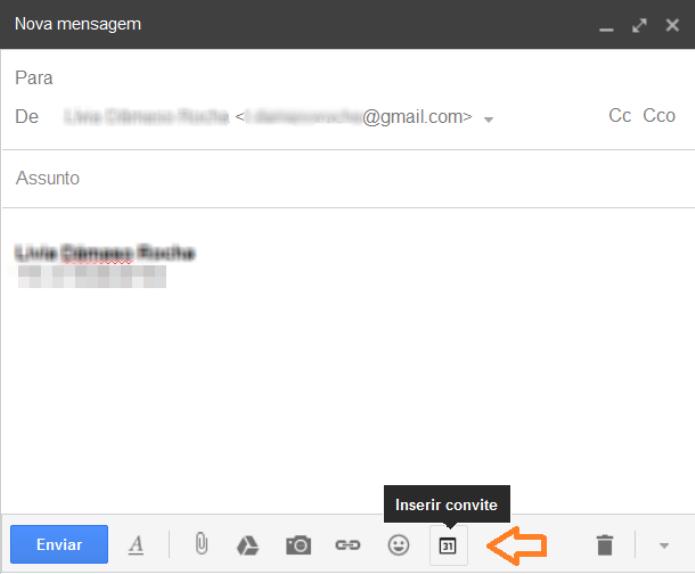 Criar um evento dentro do corpo de e-mail do Gmail (Foto: Reprodução/Lívia Dâmaso)