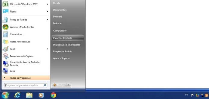 Caminho para acessar Painel de Controle no Windows (Foto: Reprodução/Raquel Freire)