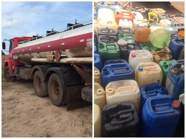Caminhões e galões apreendidos na Operação Aranha (Foto: Alessandra Rodrigues/Mirante AM)