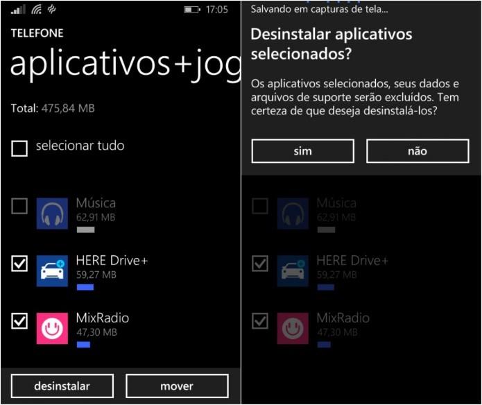 Desinstalando vários aplicativos de uma vez (Foto: Reprodução/Helito Bijora)