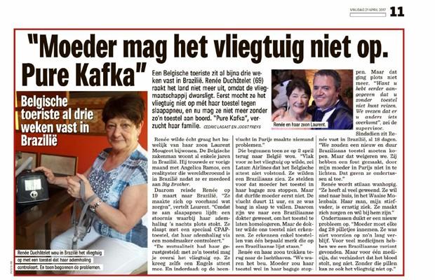 Jornal belga desta sexta-feira (21) repercute drama vivido por sogra de Angélica Ramos (Foto: Reprodução)