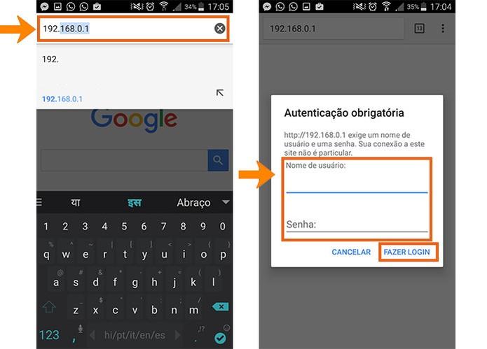Faça o login nas configurações do roteador Wi-Fi usando o navegador do celular (Foto: Reprodução/Barbara Mannara)