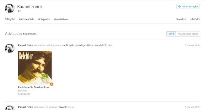 Página do perfil pessoal no Rdio (Foto: Reprodução/Raquel Freire)