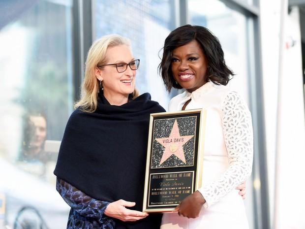 Meryl Streep e Viola Davis em Los Angeles, nos Estados Unidos (Foto: Matt Winkelmeyer/ Getty Images/ AFP)