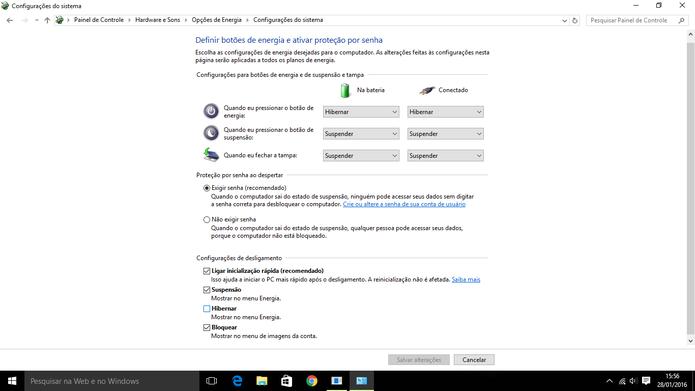 Usuário pode escolher o que o Windows fará ao fechar tampa de notebook ou apertar botão desligar (Foto: Reprodução/Elson de Souza)