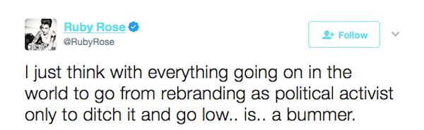 Uma das críticas de Ruby Rose a Katy Perry por conta das alfinetadas a Taylor Swift (Foto: Twitter)