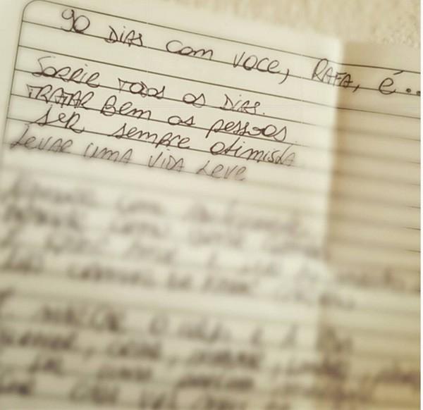 Carta de Felipe Andreoli para Rafa Brites (Foto: Reprodução/Instagram)