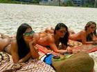 Fiu-fiu! Aline Riscado curte praia com Angela Sousa e Carol Nega