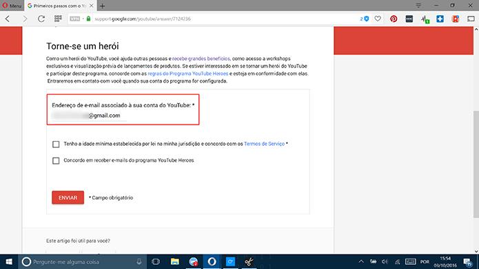 YouTube Heroes solicita e-mail do usuário para inscrição no programa (Foto: Reprodução/Elson de Souza)