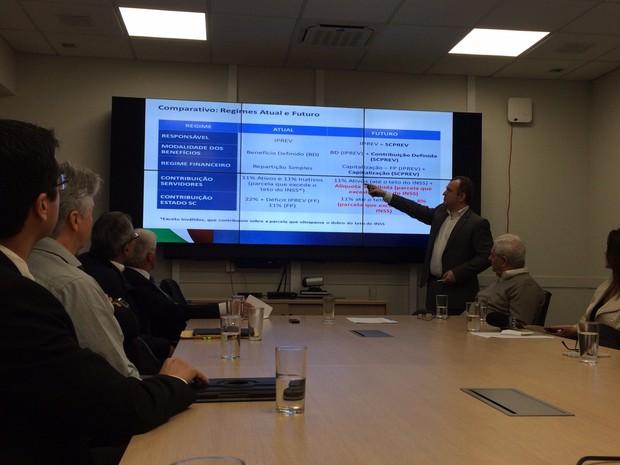 Secretário apresenta projeto de aposentadoria complementar a servidores em SC (Foto: Larissa Vier/RBS TV)