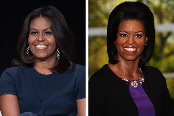 Michelle Obama e à sua direita, sua estátua de cera (Foto: Getty Images)