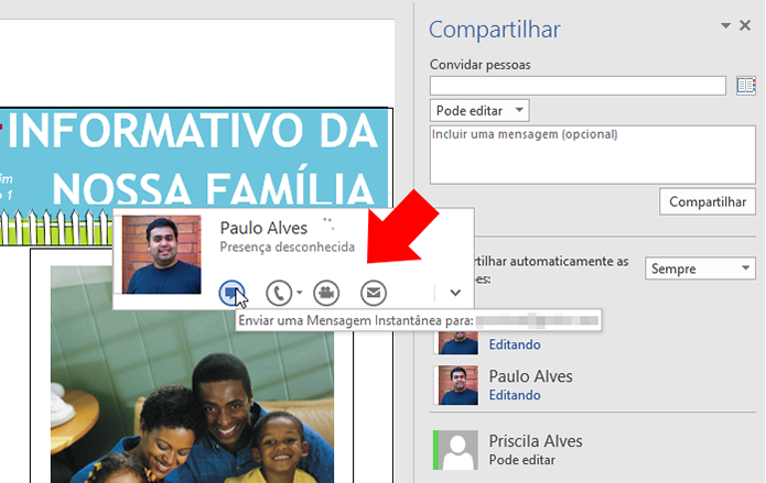 Inicie um chat, ligação ou videochamada (Foto: Reprodução/Paulo Alves)