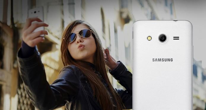 Celular Galaxy Core 2 da Samsung oferece design compacto e leve (Foto: Divulgação/Samsung)