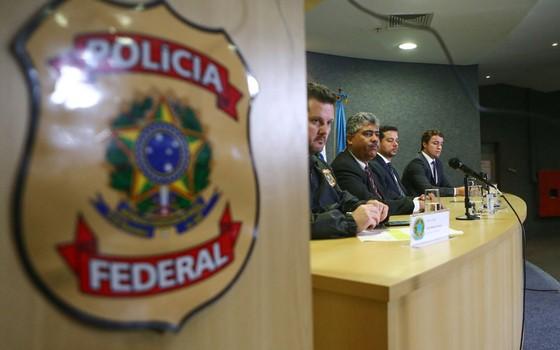 Coletiva de imprensa na Sede da Superintendência da Polícia Federal em Curitiba nesta sexta-feira (1º). Foi deflagrada a 27ª fase da Operação Lava Jato batizada de Operação Carbono 14 (Foto: Geraldo Bubniak/AGB / Ag. O Globo)