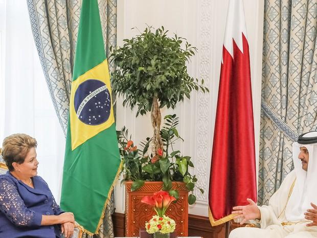 Dilma se reuniu com o emir do Catar, xeque Tamim bin Hamad Al Thani (Foto: Roberto Stuckert Filho/PR)