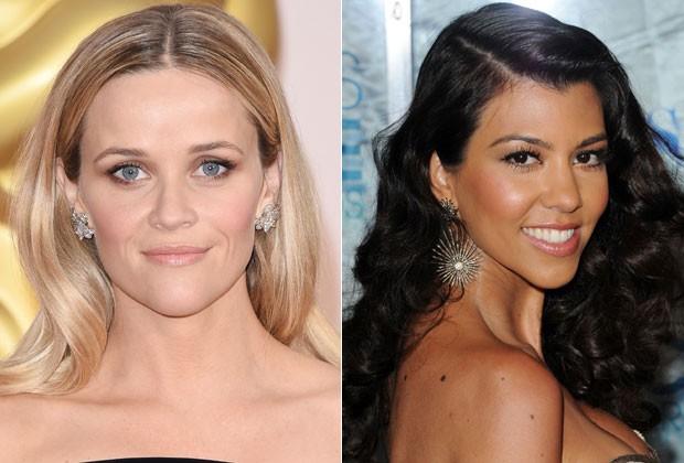 Reese Witherspoon e Kourtney Kardashian têm o rosto com formato coração (Foto: Getty Images)