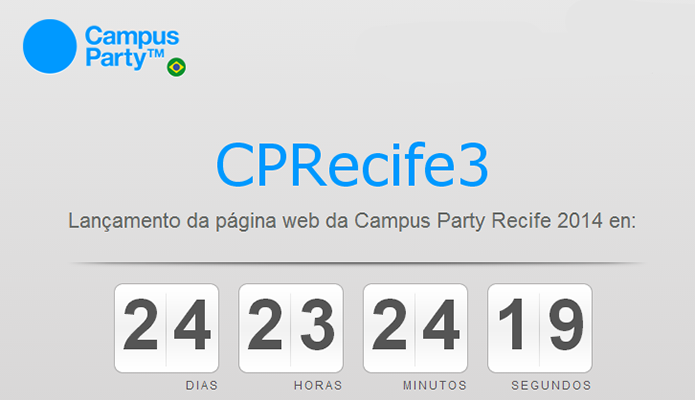 Site da Campus Party Recife já conta os dias para lançamento da página oficial da 3ª edição do evento (Foto: Reprodução/Campus Party)