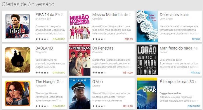 Google Play oferece jogos, livros e filmes em promoção no seu aniversário (Foto: Reprodução/Google Play)