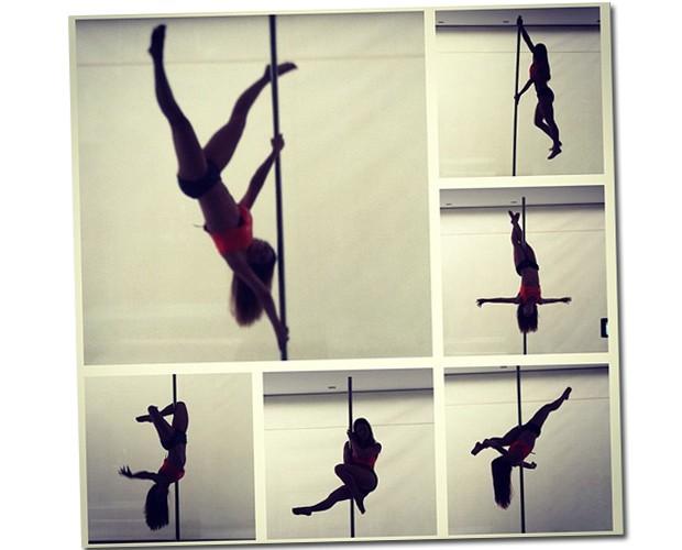 Apresentação de Pole Dance feita durante o evento de apresentação dos novos produtos da Beuaty'in (Foto: Reprodução/Instagram)