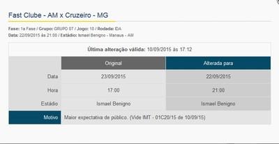 Alteração de jogo Fast x Cruzeiro Copa do Brasil Sub-20 (Foto: Reprodução)