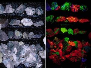Coleção mostra rochas que são comuns na luz natural (esq.), mas ficam multicoloridas e fluorescentes sob a luz negra (Foto: Divulgação/Nick Padalino)