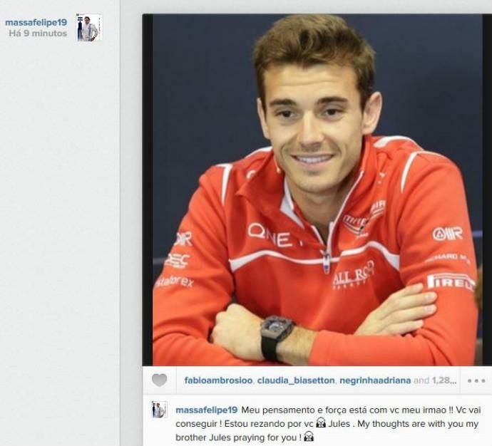 Felipe Massa manda forças a Jules Bianchi (Foto: Reprodução)